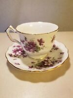 Aynsley Tea Cup Saucer Set Purple Violets English Bone China