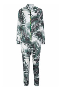 Max Mara Sfilata Ariella Print Silk Jumpsuit Green White Leaf Print Zip Up Loose