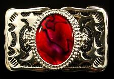 on Silver Plate, Western Belt Buckle Mother of Pearl Buckle in Red