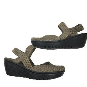 BERNIE MEV Wedge Mary Jane Sandals Closed Toe Weave Lulia Metallic Size 41
