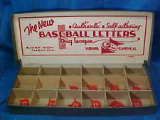 1950s BASEBALL LETTERS Store DISPLAY BOX w DETROIT TIGERS Iron On LOGOS