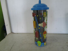 "Plastic 10"" Straw Holder, Ice Cream Theme, Good Used Condition"