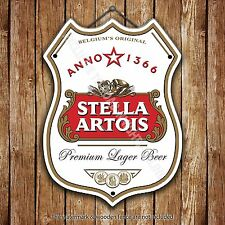 Stella Artois Beer Advertising Bar Old Pub Metal Pump Badge Shield Steel Sign