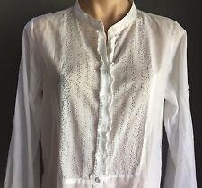 WITCHERY White Lightweight Cotton Shirt w Stud Detail Frill Detail Size L 14