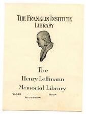 Engraved Bookplate Ex Libris Franklin Institute Dr Leffmann Library Philadelphia