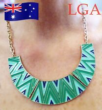 Enamel neck-ware pendant fixed chain with 3 tone enamel inlays Colette tag D