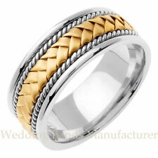 18K TWO TONE WHITE YELLOW GOLD MENS BRAIDED ROPE WEDDING BAND MANS RING 8MM