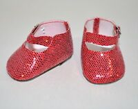 "Fits American Girl Dolls Our Generation 18"" Doll Clothes Red Glitter Shoes"