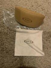 TODS Leather Pouch Sunglasses Case Tan