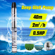 0.5HP 370W 40m 2m3/H Bore Water Pump Deep Well Irrigation Stainless Steel 220V