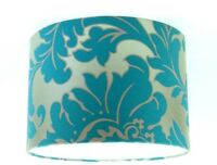 """Lampshade Handmade from Majestic Teal Damask Wallpaper 30cm / 12"""""""