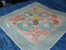 """New Handmade Pieced Baby Quilt 40"""" x 40"""", 100% Cotton, pastel colors"""