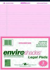 Enviroshades Legal Pads 8 12 X 11 34 Inches Pink 50 Sheets Pack Of 3