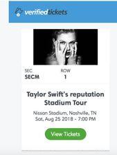 2 Floor Tickets Taylor Swift Nashville 8/25/18 ROW 1 SEC M--Below Face Value