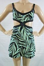 BCBG New Women's Elysabeth Cutout Fit--Flare Palms Print Dress. SZ L Black Comb