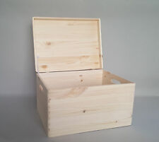 Large Plain Wood Storage Box with Lid and Handles Craft Keepsake Wooden Boxes