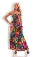 Vestito Lungo Donna Abito Bandeau PANACHER B264 Multicolore Tg Unica veste S/M
