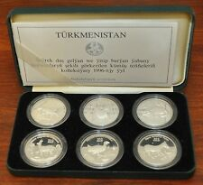 TURKMENISTAN - EXTREMELY RARE FIRST ISSUE SILVER PROOF 6 COINS 500 MANAT 1996 YR