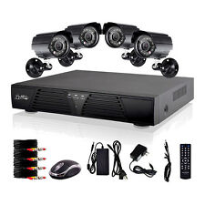8CH Channel DVR 4 Weatherproof Night 600TV-Line Home CCTV Security Camera System