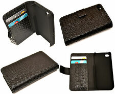 Croc Style Black Flip Leather Wallet Case Cover for iPhone 4 4S Hold Credit Card