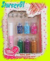 ACCESSOIRE NAIL ART 6 TUBES DECORATION ONGLES STRASS PAILLETTES + COLLE