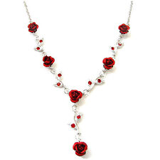 w Swarovski Crystal ~Hot Red Rose~ Flower Floral Bridal Wedding Necklace Jewelry