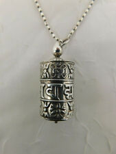 STERLING PRAYER WHEEL BOX PENDANT NECKLACE ITALAIN SILVER CHAIN OPENS