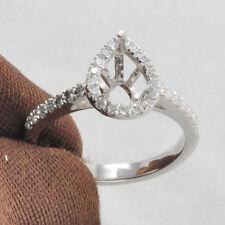 4x6mm Pear Cut Solid PT950 Platinum Natural Diamond Anniversary Semi Mount Ring