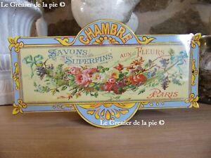 plaque de porte CHAMBRE en métal SAVON AU MIMOSA style vintage FRENCH door sign