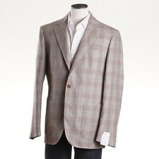 NWT $1995 LUCIANO BARBERA Light Brown Check Wool-Linen Sport Coat 44 R (Eu 54)