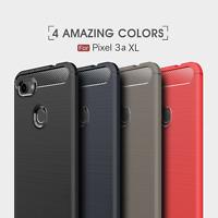 For Google Pixel 3a XL Shockproof Armor Carbon Fiber Hybrid Brush Case Cover
