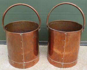 Antique Pair of Riveted Copper Buckets (h:33cm d:29cm)