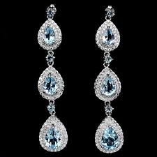 GENUINE Pear Cut 9x6mm Sky Blue Topaz , W.Cz 925 Sterling Silver DANGLE Earrings