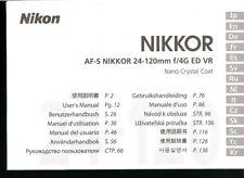 NIKKOR AF-S 24-120mm f/4G ED VR LENS INSTRUCTION MANUAL -NIKON DSLR