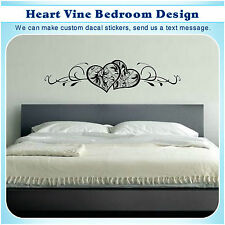 Heart Vine Wall Bed Decor Vinyl Stickers Art Mural Home Deco DIY Decal S031