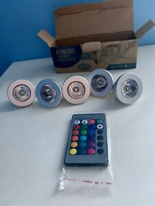 OMTO MR16 3W RGB Color Changing Remote Control LED Lights Dimmable 12V Pack of 5