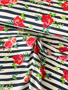 """ROSES & FLORAL STRIPE cotton jersey fabric- 58"""" / 147cm wide dressmaking"""