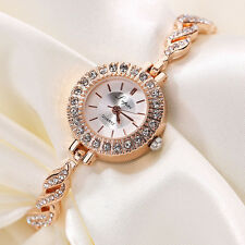 Fashion Women's Stainless Steel Crystal Rhinestones Quartz Bracelet Wrist Watch