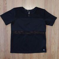 Kardashian Kollection Short Sleeve Blouse Black Mesh Details Womens Size Large