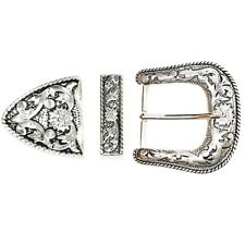 "Antiqued Silver Western Floral Engraved Belt Buckle Set (1-1/2"") - D.I.Y. Belt B"