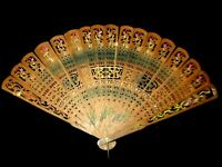 Antique 19th Century Vintage Hand Painted Carved WOOD HAND FAN