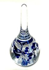 Art Glass Paperweight Gibson 1997 Five Blue & White Flowers 4 inches Tall