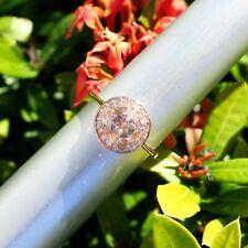 14k Solid Rose Gold Morganite (Pink Aquamarine) Diamond HALO Ring Size 7.25