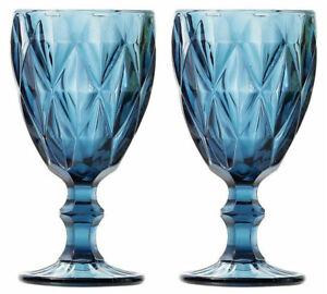 2X SYROS BLUE Vintage RED WINE GLASSES 350ml