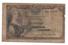 PORTUGAL 50 CENTAVOS 1918 PICK 112A SERIE EM LINHA IN LINE LOOK SCANS