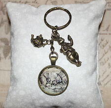 Alice in Wonderland bronze Keyring Mad Hatter tea party, rabbit & teapot charms