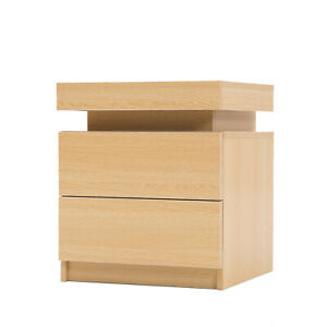 LaBella Bedside Tables 2 Drawers RGB LED Bedroom Cabinet Nightstand Gloss OAK