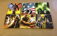 6  DC & MARVEL CANVAS IMAGES MADE INTO PICTURES Each One 6 X 6 Inches