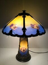 Early 20th Century Reverse Painted Chipped Ice Pansies Slag Glass Panel Lamp