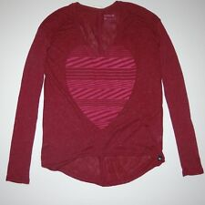 New Hurley Womens Heart Hazard Drapy Rib Long Sleeve V-Neck T-Shirt Size Small